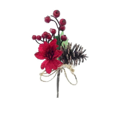 Christams Berry Pick with Poinsettia, Cone & Rope