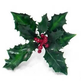 Holly-berry-christmas-pick-Green