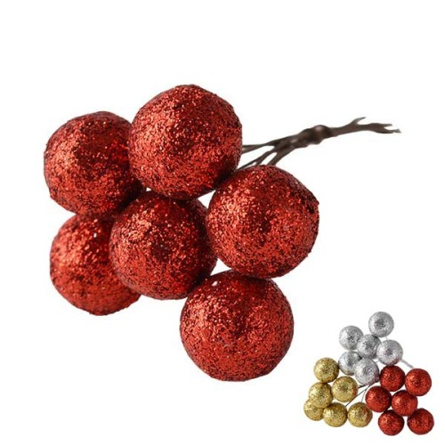 Sprkling Deco Ball - Red