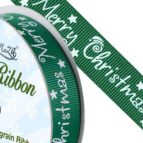 Christmas Ribbon - Green 15mm