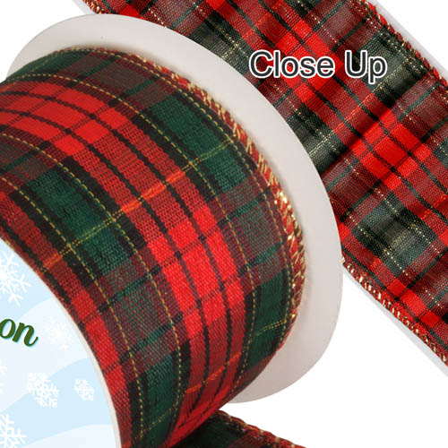 Tartan Ribbon - Dark Green & Red