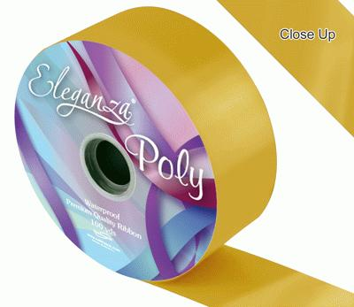 50mm Poly Ribbon Gold