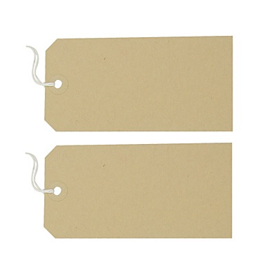 Buff Manilla Parcel Tags strung labels