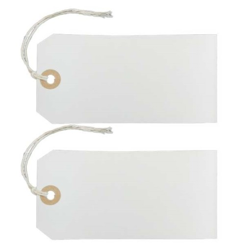 White Manilla Parcel Tags strung labels
