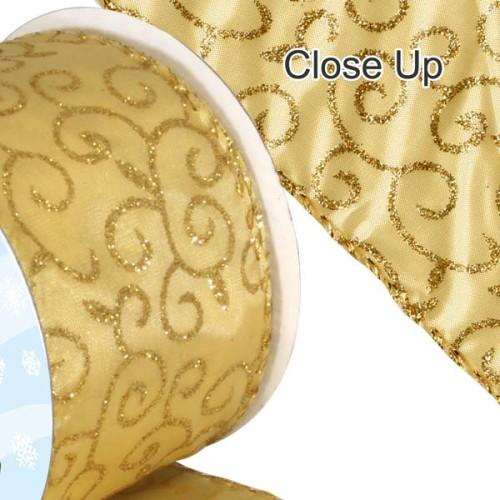 Golden Scroll Christmas Ribbon