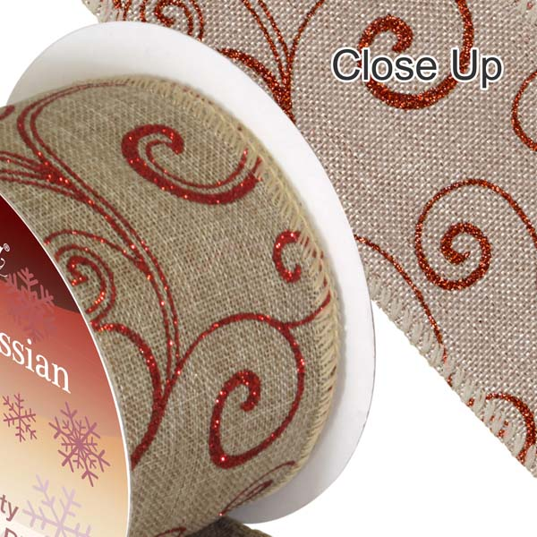Hessian-Ribbon-Wired-Edge-Red