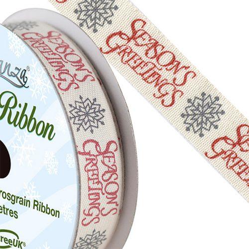 Natural Cotton Seasons Greetings Ribbon