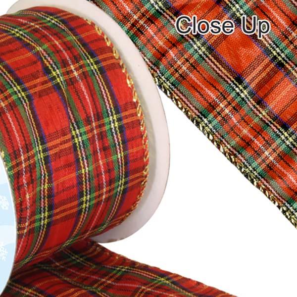 Tartan-Ribbon-wired-edge-red
