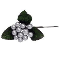 Berry Pick With Leaves - Silver
