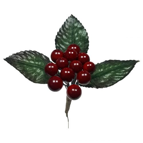 Red Berry Pick with Leaves