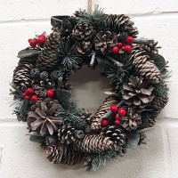 Red Berry & Cone Wreath