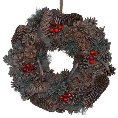berry u0026 cone wreath red