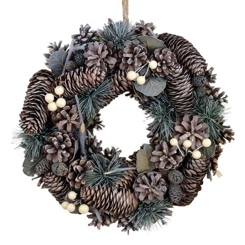 White Berry & Cone Wreath