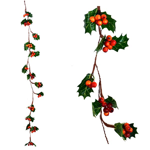 Christmas Garland with leaves and berries - Orange