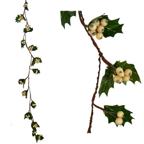 Christmas Garland with leaves and berries - White