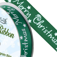 Christmas Ribbon - Green 15mm