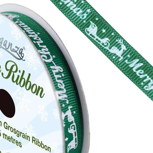 Green Christmas Printed Satin Ribbon - The Essentials Company