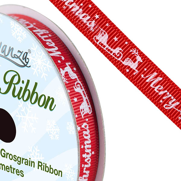 Red Christmas Printed Satin Ribbon - The Essentials Company