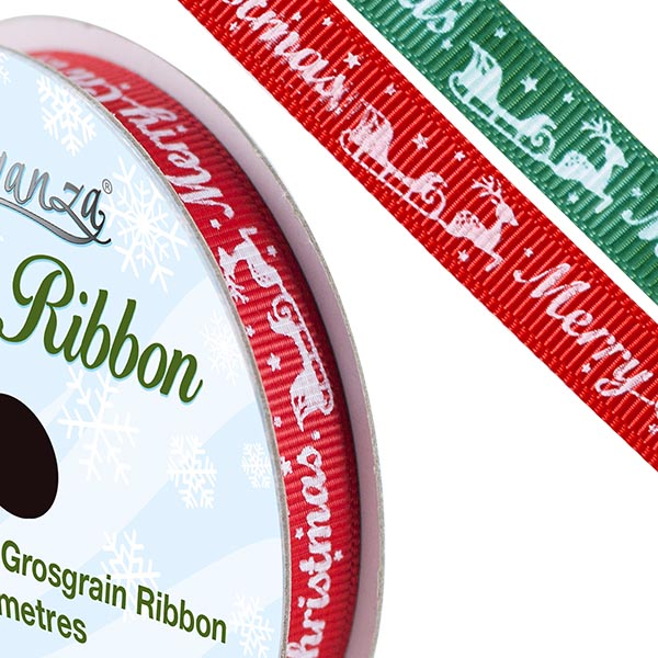 Christmas Printed Satin Ribbon - The Essentials Company