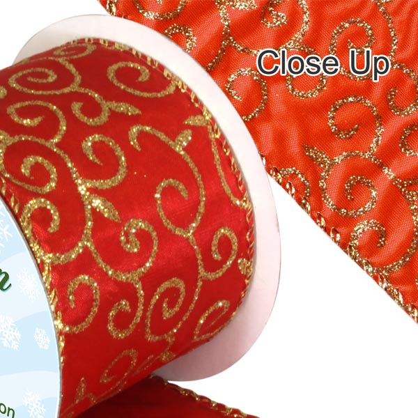 ORaganza Ribbon - Red Filigree
