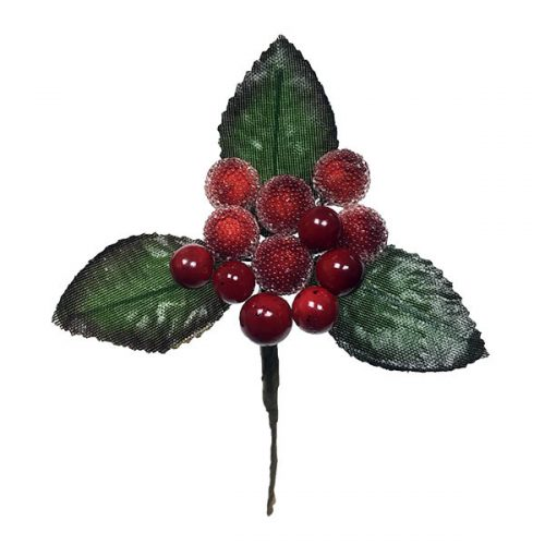 Red Beaded Berry Pick with Leaves
