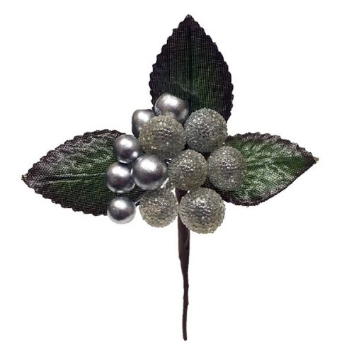 Silver Beaded Berry Pick with Leaves